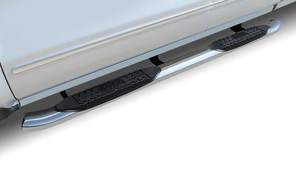 Raptor Series 1503-0066 F250/F350 Step Bars 4 In Curved Oval 99-16 Ford F-250/F-350 Super Cab OE Style Stainless