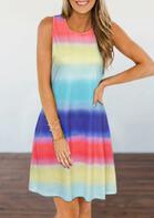 Gradient Rainbow Striped O-Neck Mini Dress