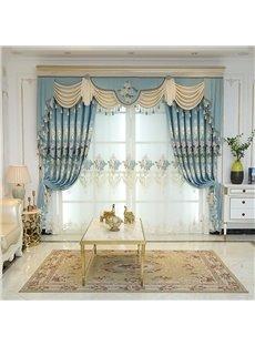 Blue Elegant Embroidered Floral Decorative Custom Sheer Curtains