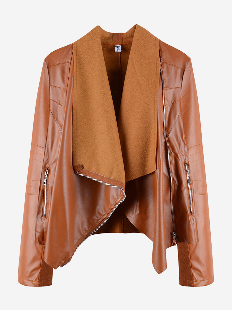 Solid Color Inregular Notch Collar Faux Leather Jackets