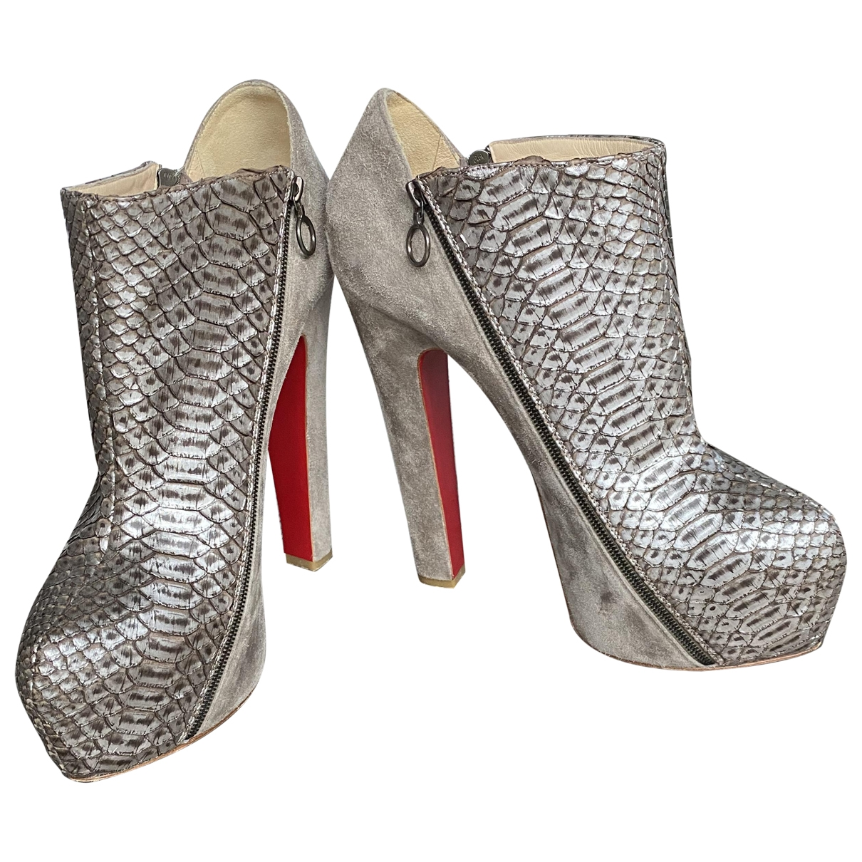 Christian Louboutin \N Grey Suede Ankle boots for Women 40 EU