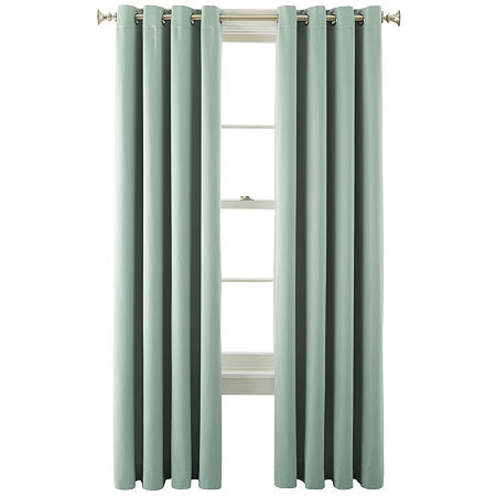 JCPenney Home Kathryn Room-Darkening Grommet-Top Curtain Panel, One Size , Green