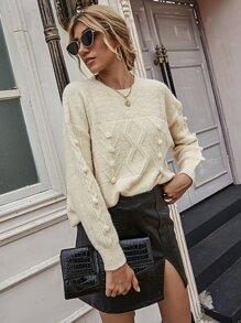 Argyle Knit Pom Pom Drop Shoulder Sweater