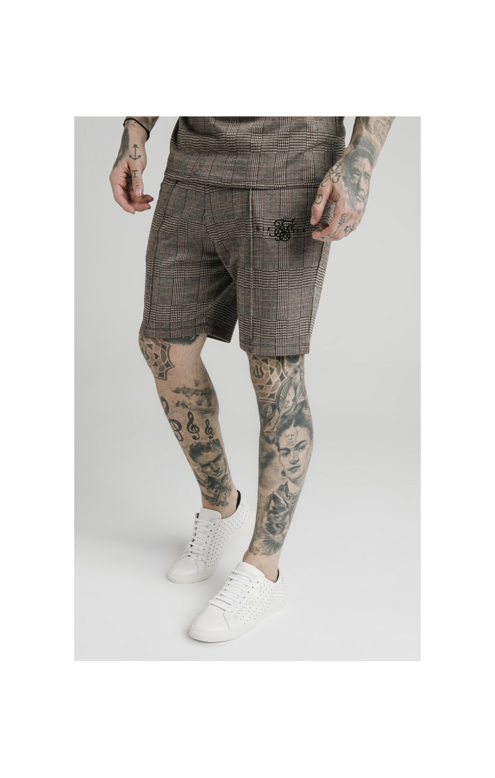 SikSilk Pleated Smart Shorts  Brown Dogtooth MEN SIZES BOTTOM: Small 3