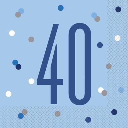 Birthday Glitz Blue & Silver Luncheon Napkins, 16pcs - Age 40