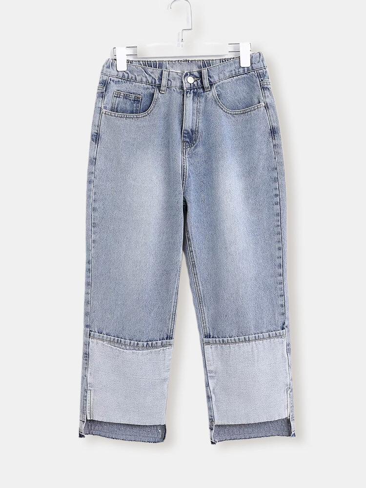Solid Color Elastic Waist Zipper Straight Denim With Pocket