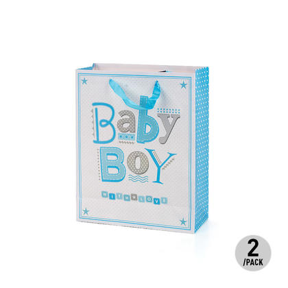 Baby Boy Gift Bag Present Bag for Birthdays, Baptism, Christenings, 2Pcs - LIVINGbasics™ - Medium