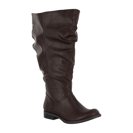 Easy Street Womens Peak Plus Block Heel Riding Boots, 7 Medium, Brown