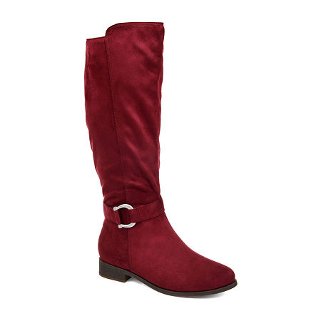 Journee Collection Womens Cate Stacked Heel Zip Riding Boots, 5 1/2 Medium, Red