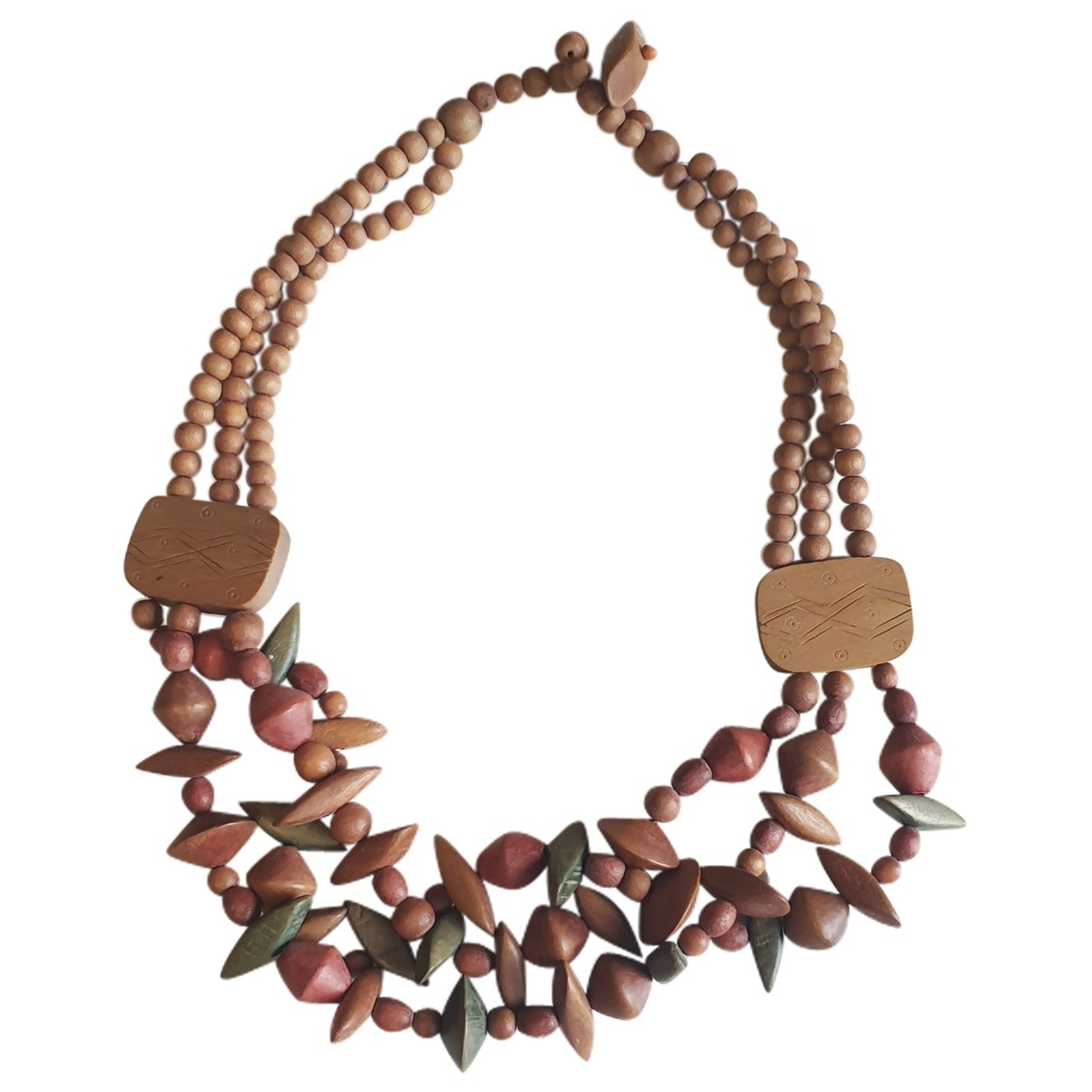 Non Signé / Unsigned \N Brown Wood necklace for Women \N