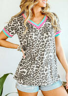 Presale - Leopard Color Block Splicing V-Neck Blouse