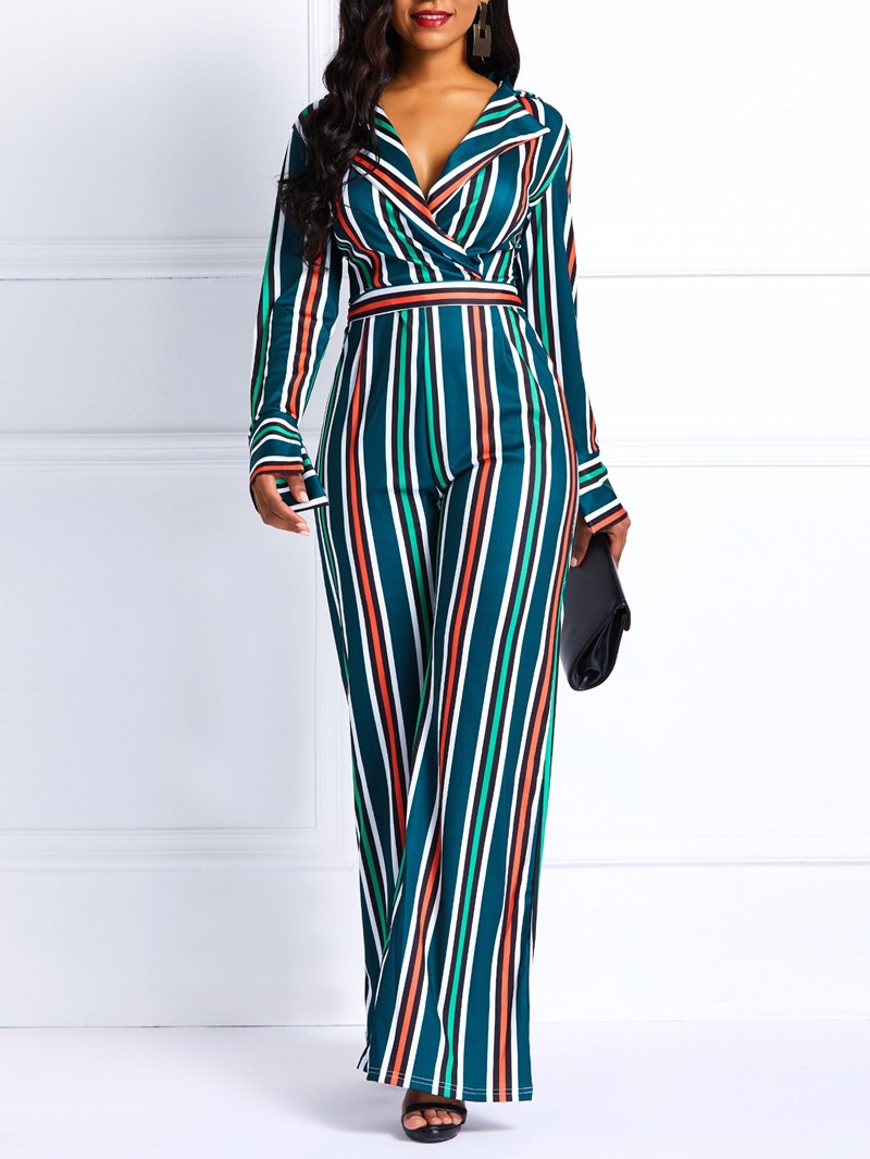 Ericdress Striped Notched Lapel Wide Legs Loose Women's Jumpsuits