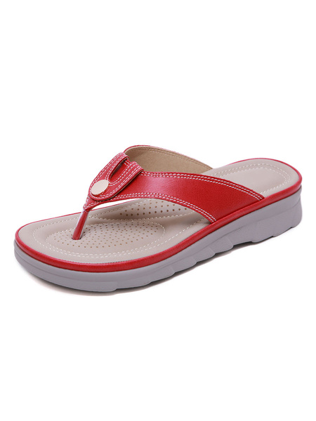 Milanoo Flip Flops For Woman Fashionable Breathable PU Leather