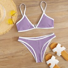 Contrast Binding Bikini Swimsuit