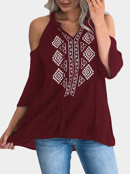 Yoins Burgundy Printed V-neck Cold Shoulder Blouses