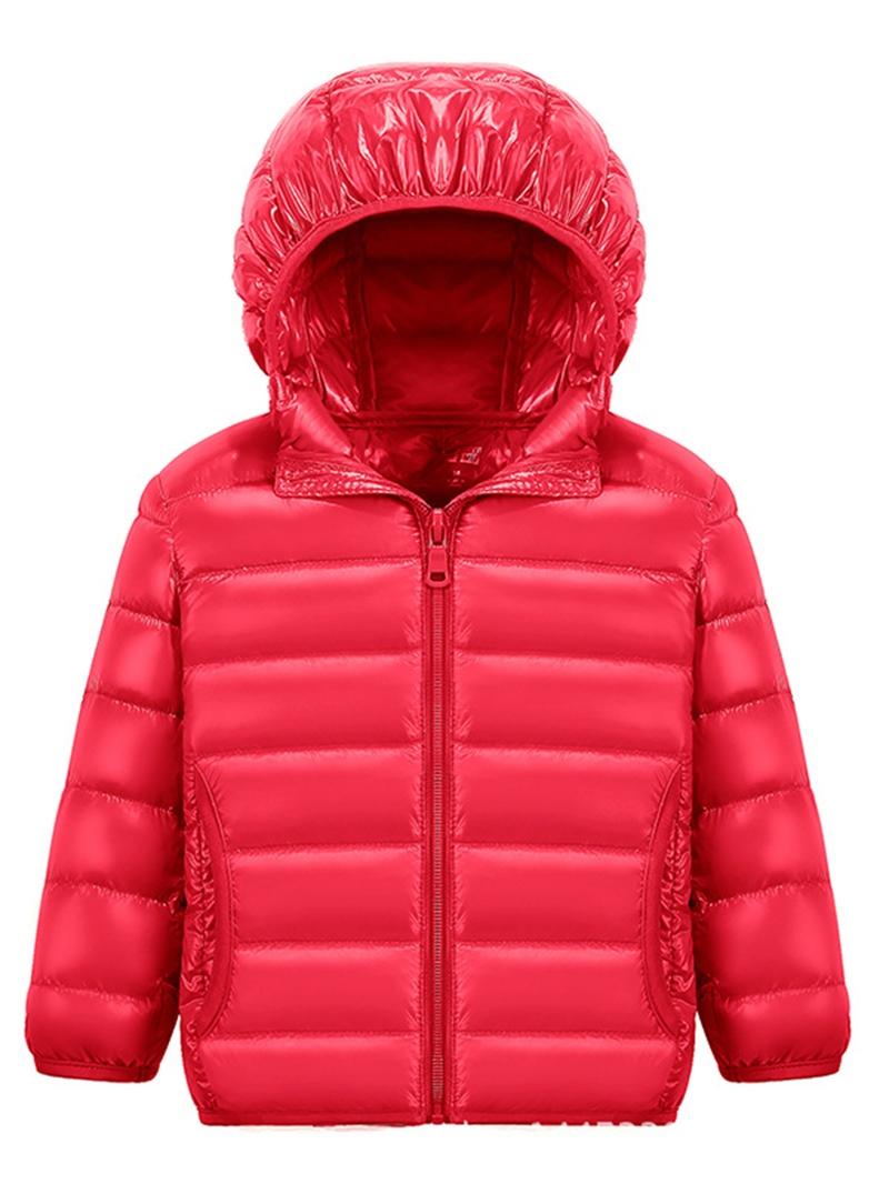 Ericdress Plain Hooded Zipper Unisex Down Jacket