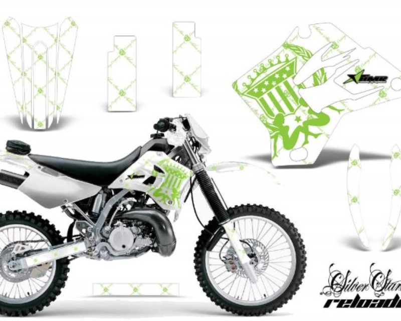 AMR Racing Dirt Bike Graphics Kit Decal Sticker Wrap For Kawasaki KDX200 1995-2006 RELOADED GREEN WHITE