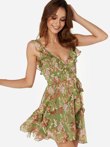 Yoins Green Random Floral Print Flounced Hem Midi Wrap Dresses