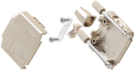 MH Connectors , MHDPPK-T/M ABS D-sub Connector Backshell, 25 Way, Strain Relief, Silver
