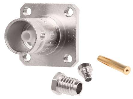 Radiall Straight 75Ω Flange MountBulkhead Fitting BNC Connector, jack, Nickel, Clamp Termination, RG179, RG187