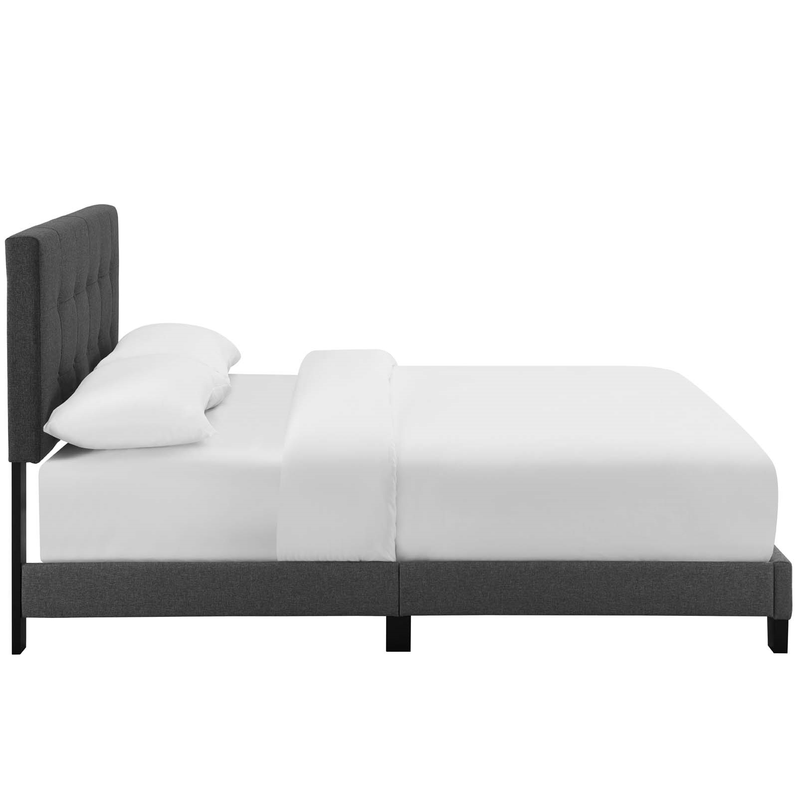 Amira Queen Upholstered Fabric Bed in Gray