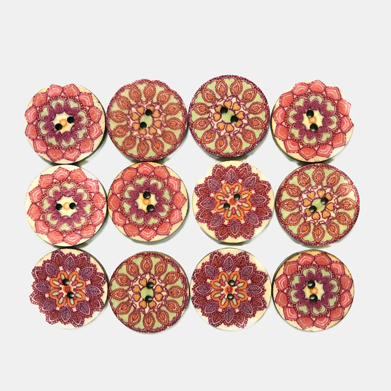 100 Pcs Pink Flower Pattern Buttons Round Handmade Button European Retro Pattern DIY Decorative Buttons