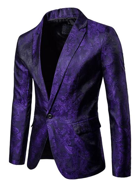 Milanoo Men Casual Blazer Satin Jacquard Burgundy Blazer For Men Notch Collar Spring Jacket
