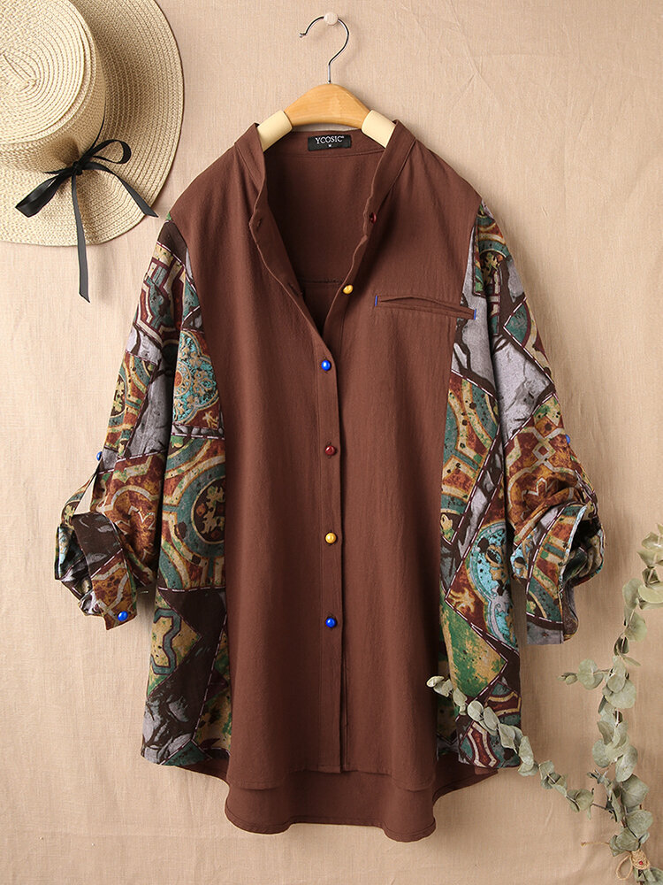 Vintage Printed Long Sleeve Stand Collar Patchwork Blouse For Women