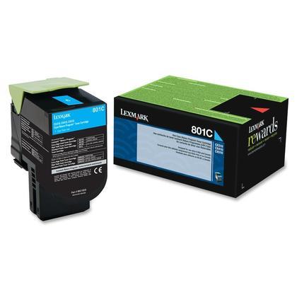 Lexmark 801C 80C10C0 cartouche de toner du programme retour originale cyan