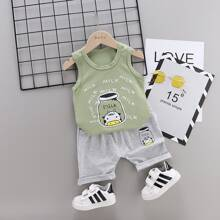 Toddler Boys Letter And Cartoon Graphic Tank Top & Shorts