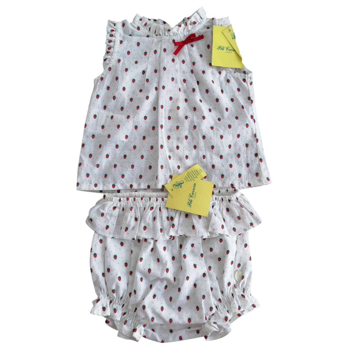 Pili Carrera \N White Cotton Outfits for Kids 6 months - up to 67cm FR