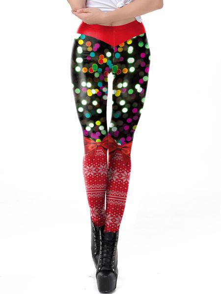 Milanoo Christmas Holidays Costumes Print Women Leggings