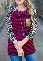 Leopard Striped Sequined Pocket T-Shirt Tee