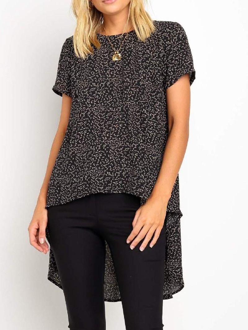 Ericdress Short Sleeve Asymmetric Round Neck Print Long Casual T-Shirt