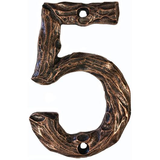 LHN5-AC Log House Number 5, Antique Copper, 1 piece