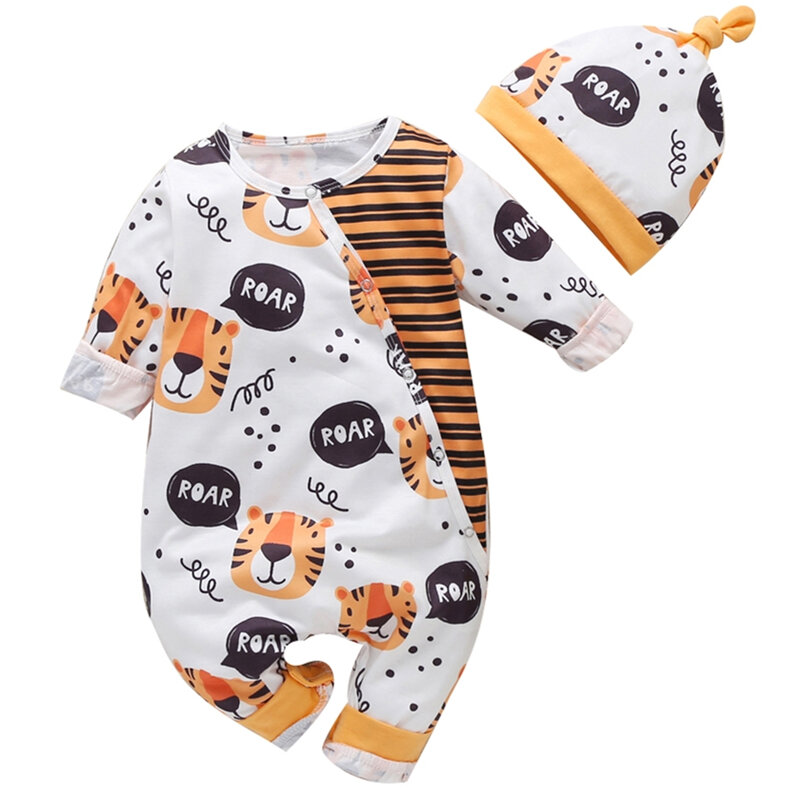 2PCs Baby Cartoon Tiger Striped Print Long Sleeves Casual Rompers For 0-18M