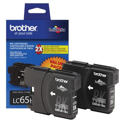 Brother LC652PKS - LC65HYBK Original Black Ink Cartridge (LC65BK), Twin Pack - High Yield
