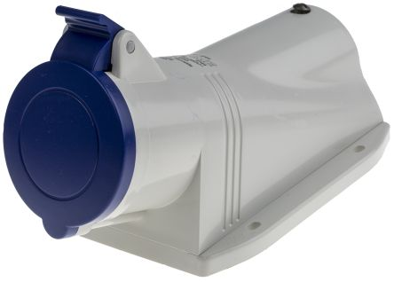 RS PRO IP44 Blue Wall Mount 2P+E Right Angle Industrial Power Socket, Rated At 32.0A, 230.0 V