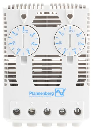 Pfannenberg , Enclosure Thermostat, Adjustable, NO, Snap-In, 120 V ac