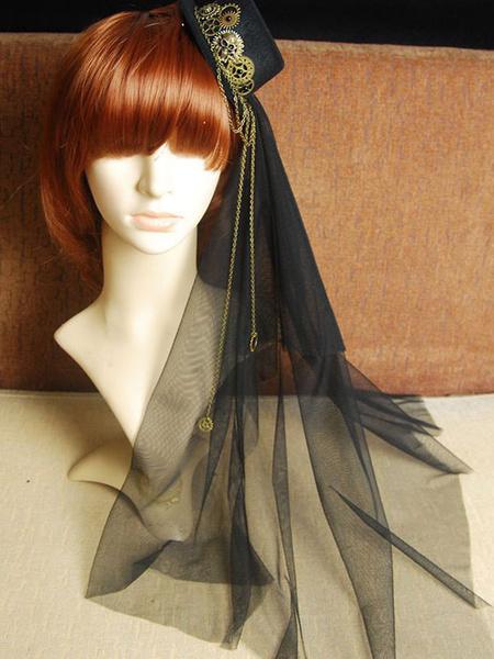 Milanoo Steampunk Lolita Veil Tulle Hat Metal Detail Chain Black Lolita Headdress