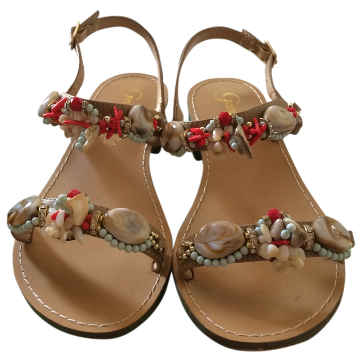 Non Signé / Unsigned \N Beige Leather Sandals for Women 37 IT