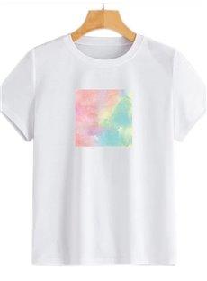 Beddinginn Standard Short Sleeve Round Neck Color Block Western Women's T-Shirt