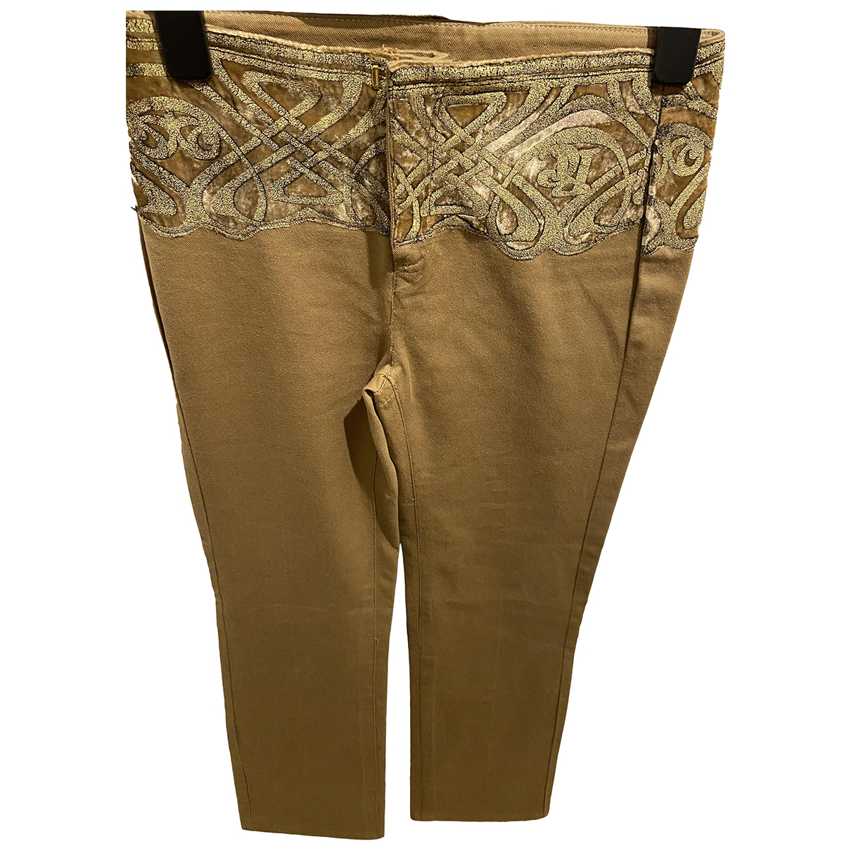 Roberto Cavalli \N Beige Cotton Trousers for Women 38 IT