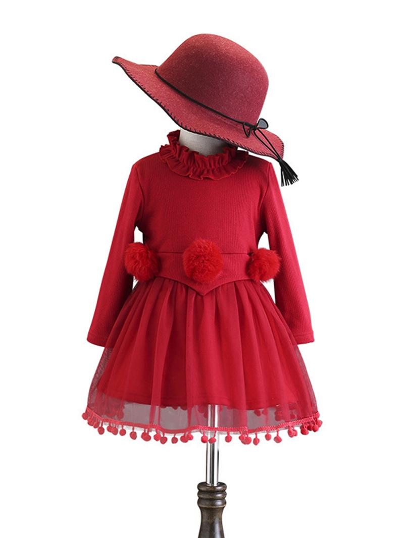 Ericdress Long Sleeve Mesh Patchwork Thicken Girl's Dress