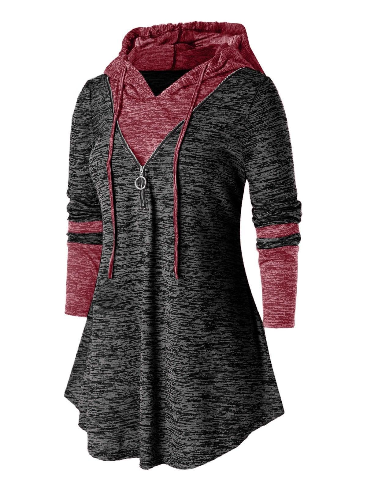 Plus Size Hooded Zipper Space Dye T Shirt