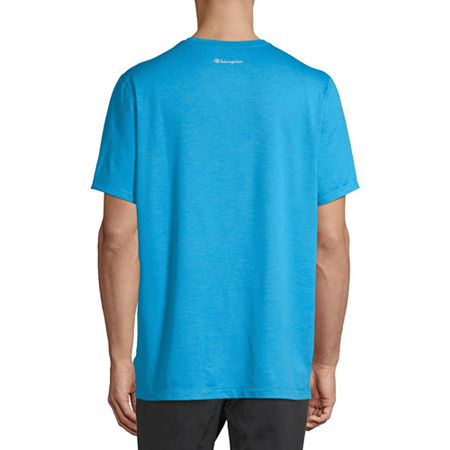 Champion Sport Mens Crew Neck Short Sleeve Moisture Wicking T-Shirt, Small , Blue