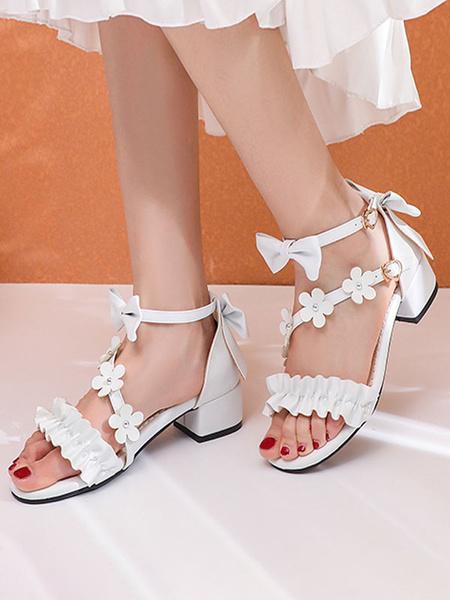 Milanoo Sweet Lolita Sandals Pink BowsRuffles Flower PU Leather Lolita Summer Shoes