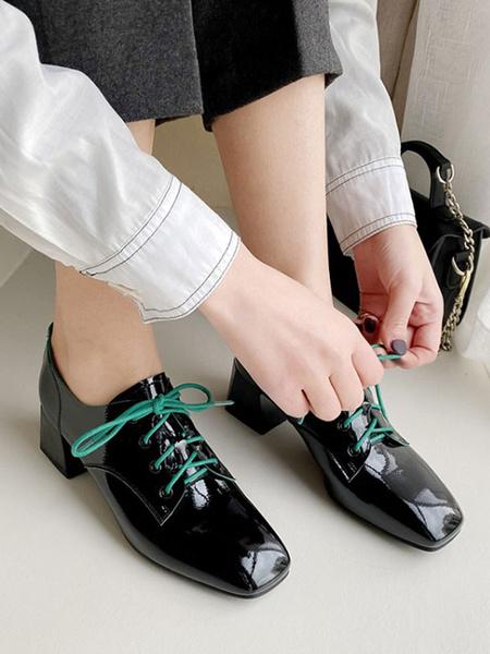 Milanoo Women Black Square Toe PU Leather Lace Up Oxfords