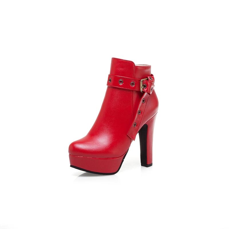 Ericdress Side Zipper Chunky Heel Round Toe women's Ankle Boots