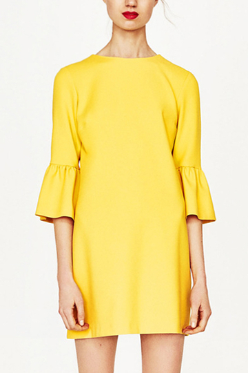 Yoins Yellow Flared Half Sleeves Mini Dress